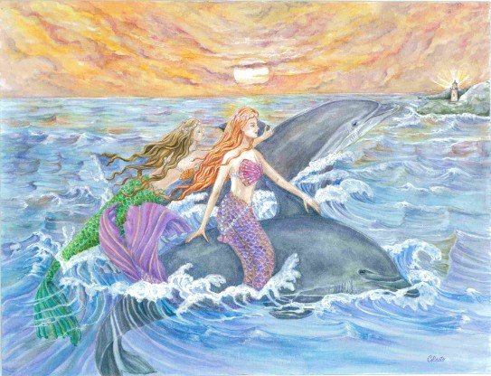 Mermaids and Dolphins Riding Waves