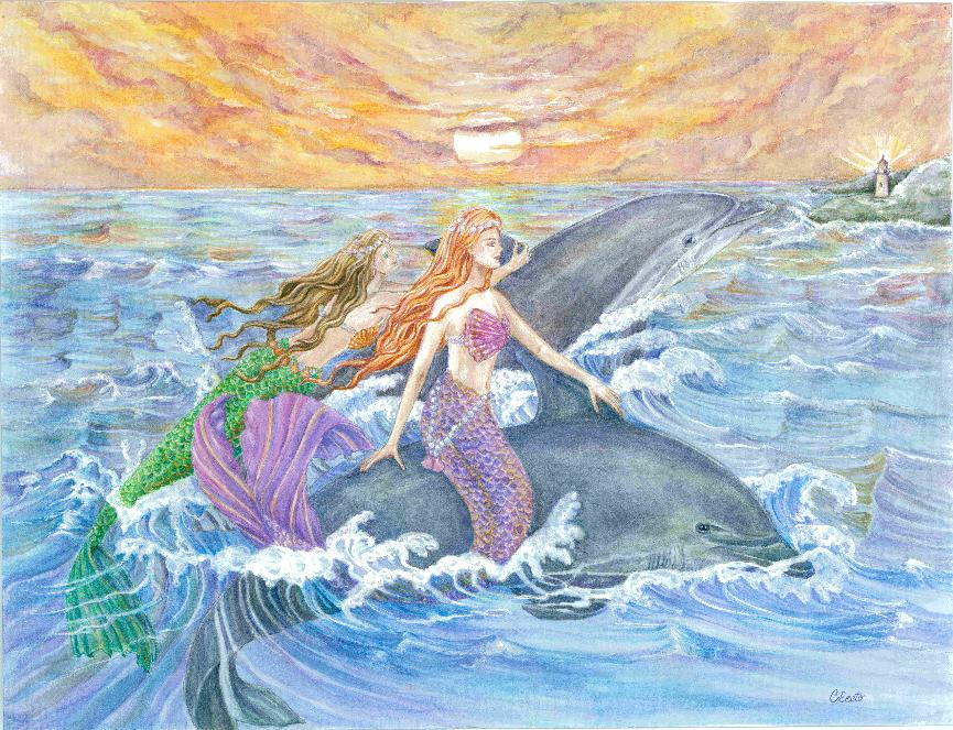 Mermaids and Dolphins Riding Waves Painting
