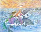 Mermaids and Dolphins Riding Waves Art Print