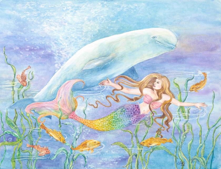 Mermaid and Beluga Whale art print