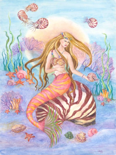 Nautilus Queen Mermaid Art Print